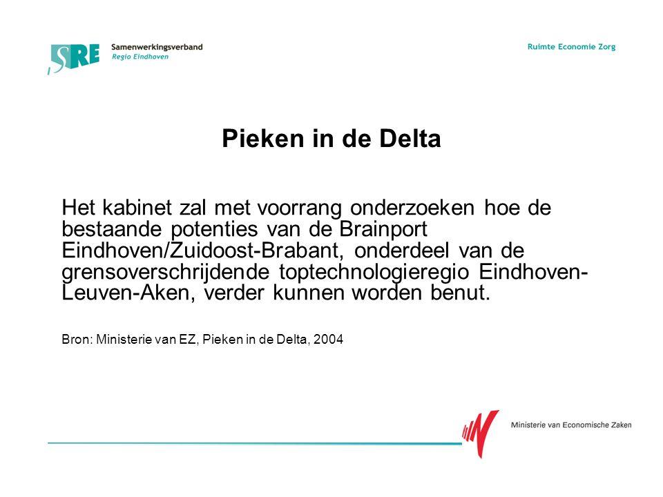 Pieken in de Delta Het kabinet zal met voorrang onderzoeken hoe de bestaande potenties van de Brainport Eindhoven/Zuidoost-Brabant, onderdeel van de grensoverschrijdende toptechnologieregio Eindhoven- Leuven-Aken, verder kunnen worden benut.