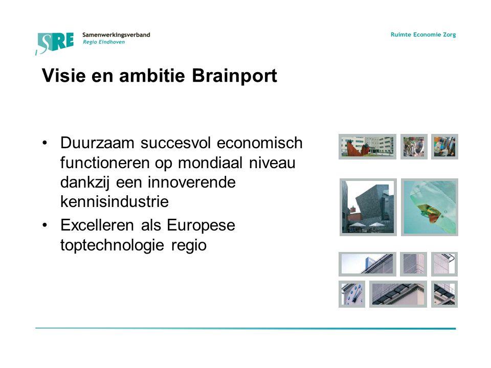 Visie en ambitie Brainport Duurzaam succesvol economisch functioneren op mondiaal niveau dankzij een innoverende kennisindustrie Excelleren als Europese toptechnologie regio