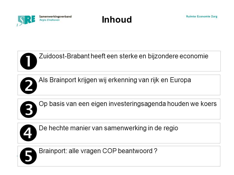 –Zuidoost-Brabant heeft een sterke en bijzondere economie –Als Brainport krijgen wij erkenning van rijk en Europa –Op basis van een eigen investeringsagenda houden we koers Inhoud –De hechte manier van samenwerking in de regio     –Brainport: alle vragen COP beantwoord .