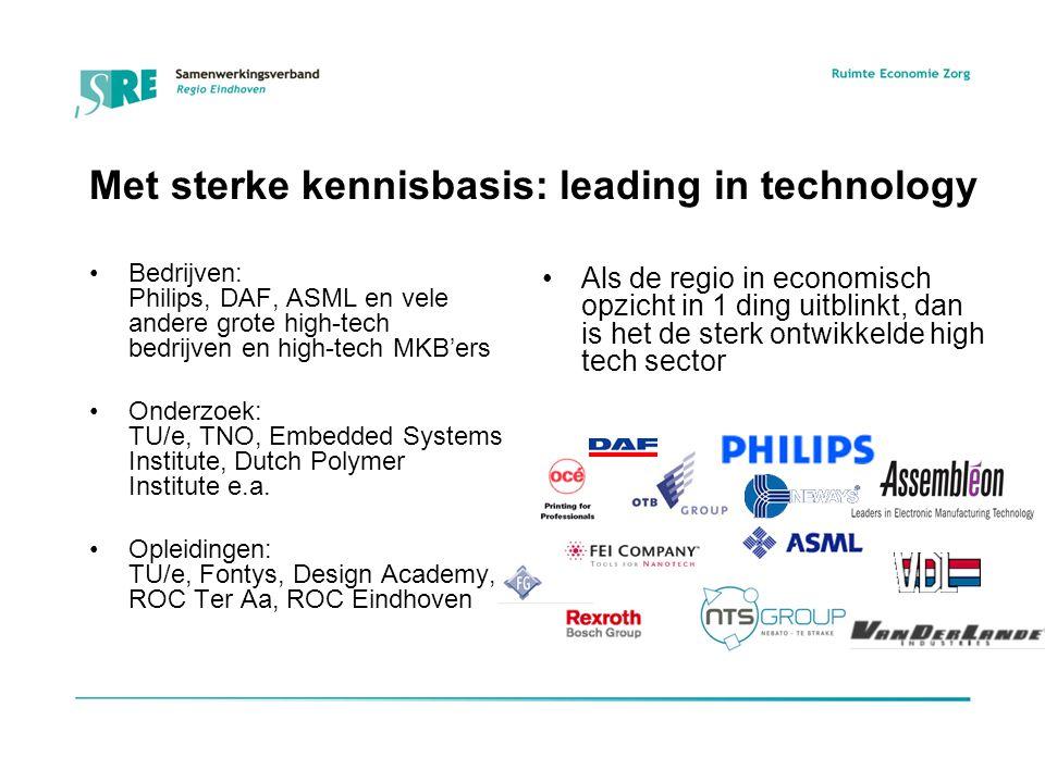 Met sterke kennisbasis: leading in technology Bedrijven: Philips, DAF, ASML en vele andere grote high-tech bedrijven en high-tech MKB'ers Onderzoek: TU/e, TNO, Embedded Systems Institute, Dutch Polymer Institute e.a.