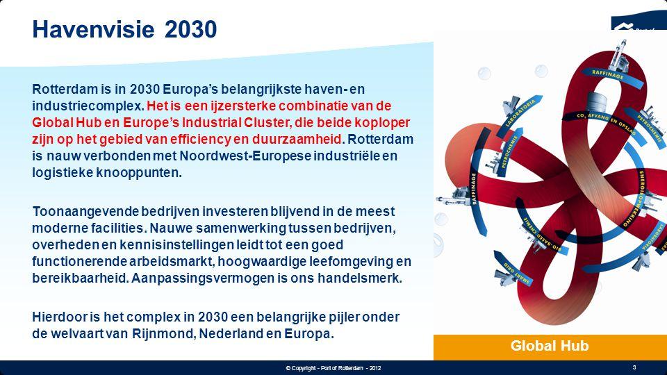 3 © Copyright - Port of Rotterdam - 2012 Text & Image 60/30 Havenvisie 2030 Global Hub Rotterdam is in 2030 Europa's belangrijkste haven- en industrie