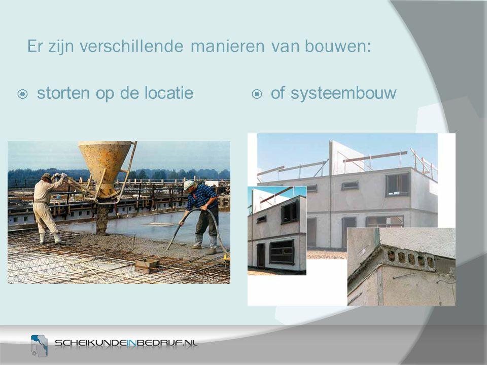 Er zijn verschillende manieren van bouwen:  storten op de locatie  of systeembouw