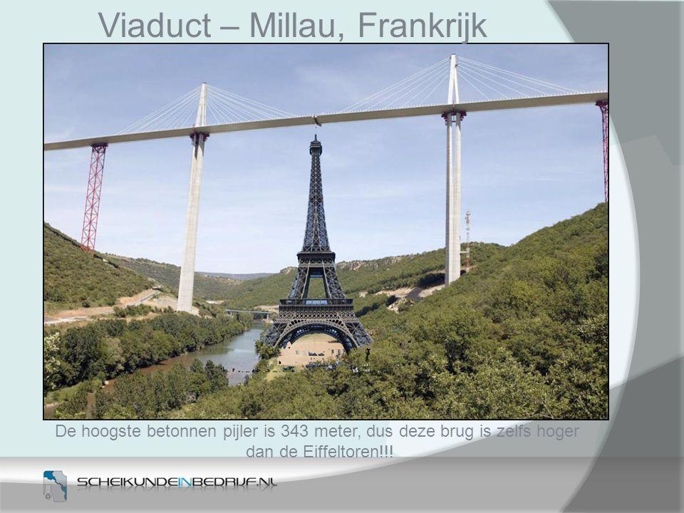 De hoogste betonnen pijler is 343 meter, dus deze brug is zelfs hoger dan de Eiffeltoren!!! Viaduct – Millau, Frankrijk