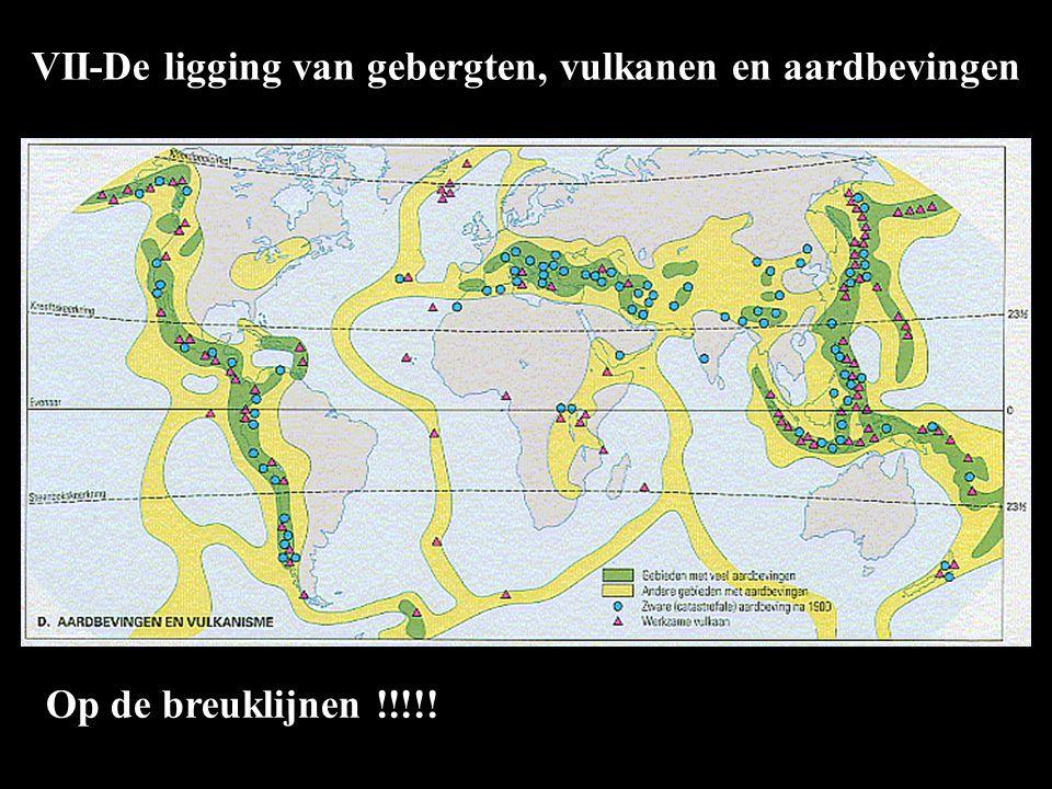 VII-De ligging van gebergten, vulkanen en aardbevingen Op de breuklijnen !!!!!
