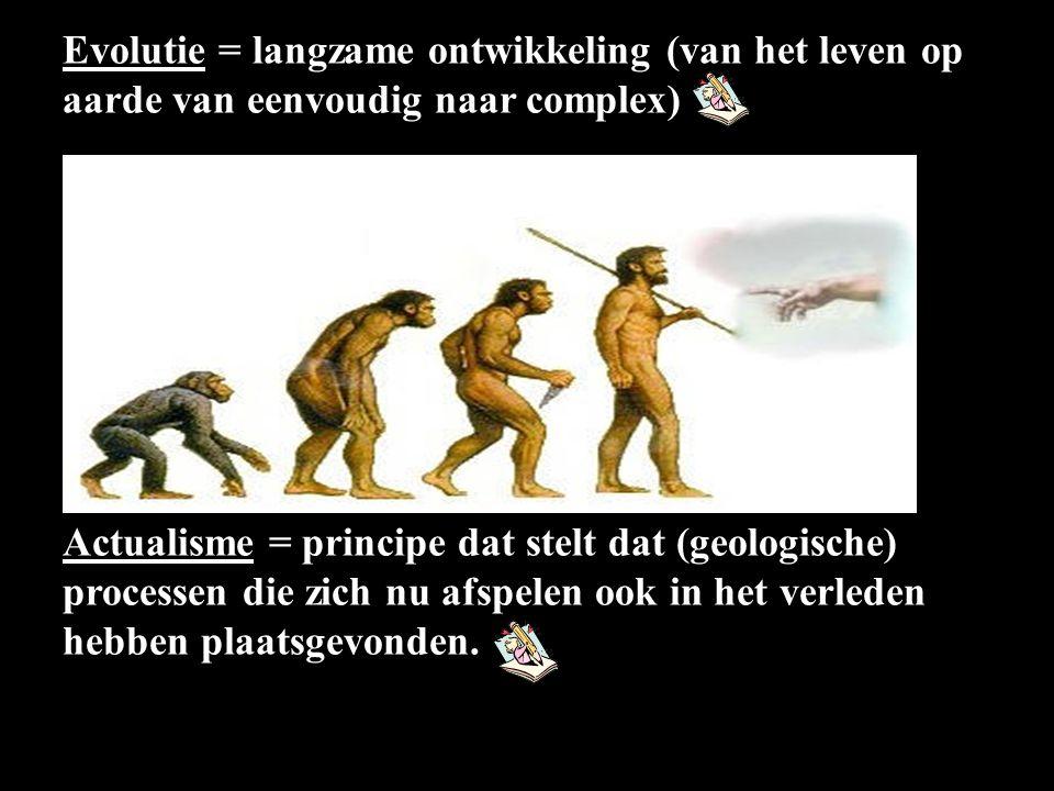 Evolutie = langzame ontwikkeling (van het leven op aarde van eenvoudig naar complex) Actualisme = principe dat stelt dat (geologische) processen die zich nu afspelen ook in het verleden hebben plaatsgevonden.
