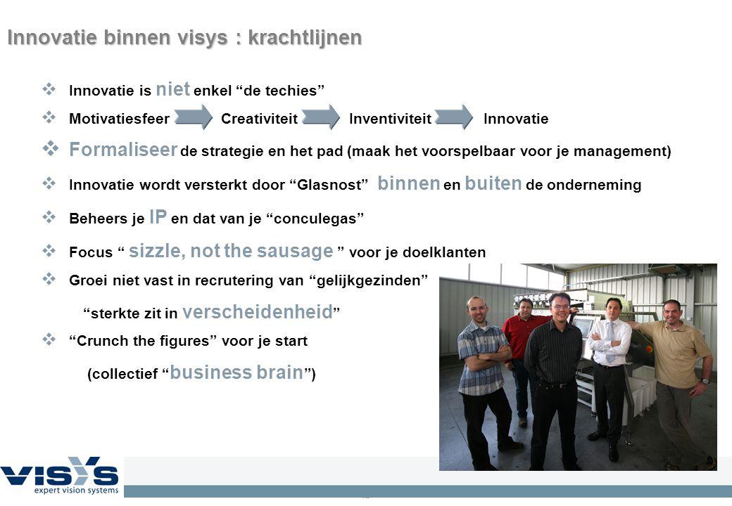 """12 Innovatie binnen visys : krachtlijnen  Innovatie is niet enkel """"de techies""""  Motivatiesfeer Creativiteit Inventiviteit Innovatie  Formaliseer de"""
