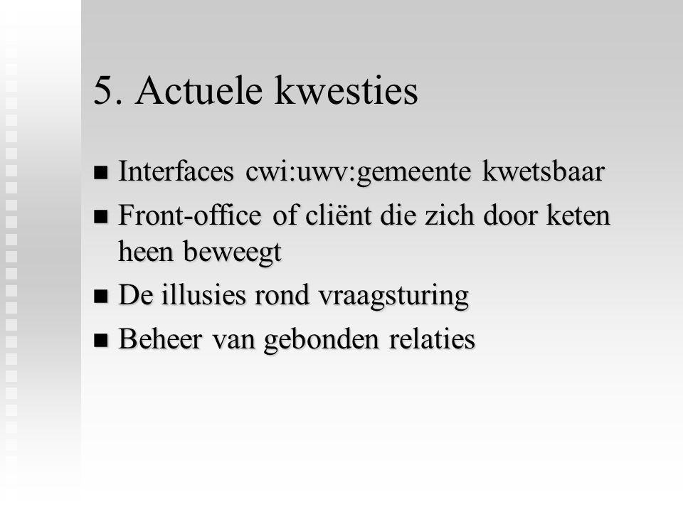 5. Actuele kwesties n Interfaces cwi:uwv:gemeente kwetsbaar n Front-office of cliënt die zich door keten heen beweegt n De illusies rond vraagsturing