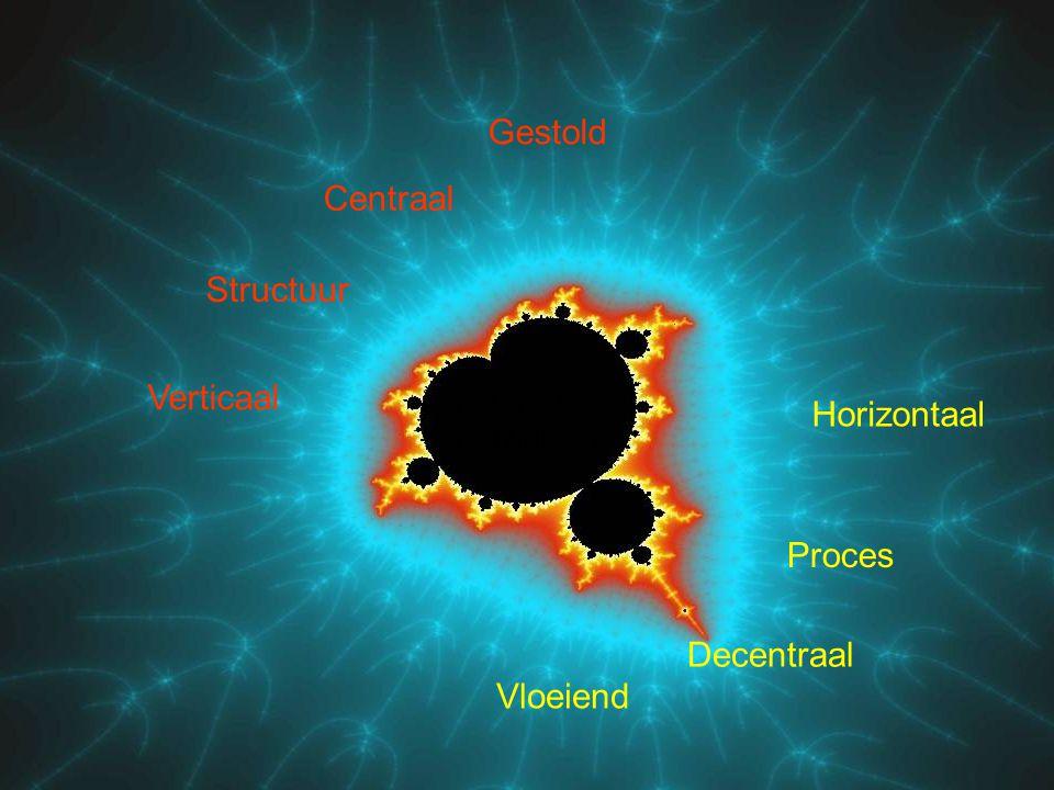 Proces Horizontaal Gestold Centraal Structuur Verticaal Decentraal Vloeiend Ketens & Netwerken