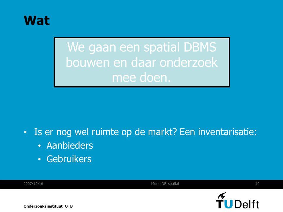 Onderzoeksinstituut OTB 2007-10-1610MonetDB spatial Wat Is er nog wel ruimte op de markt.