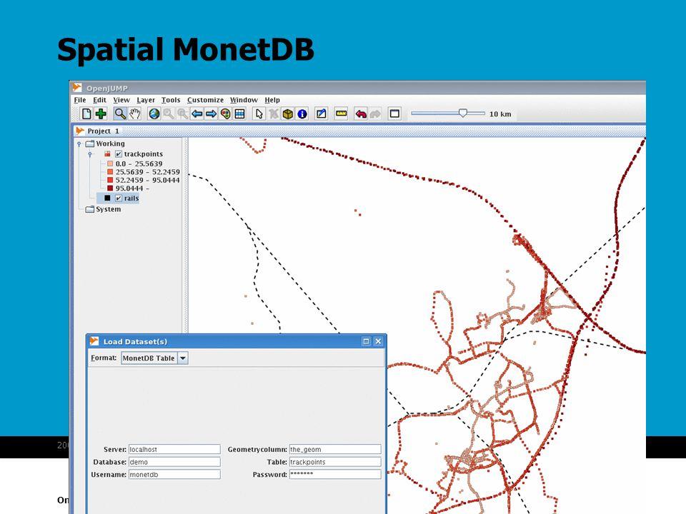 Onderzoeksinstituut OTB 2007-10-1629MonetDB spatial Spatial MonetDB
