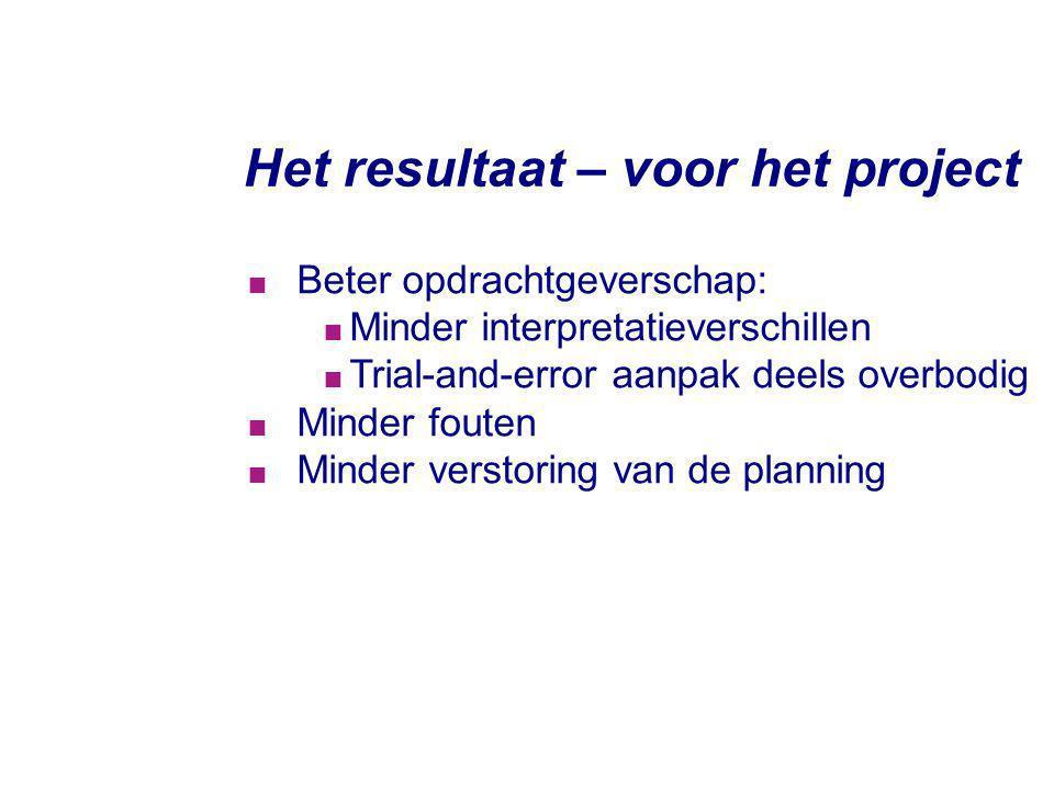 Het resultaat – voor het project  Beter opdrachtgeverschap:  Minder interpretatieverschillen  Trial-and-error aanpak deels overbodig  Minder foute