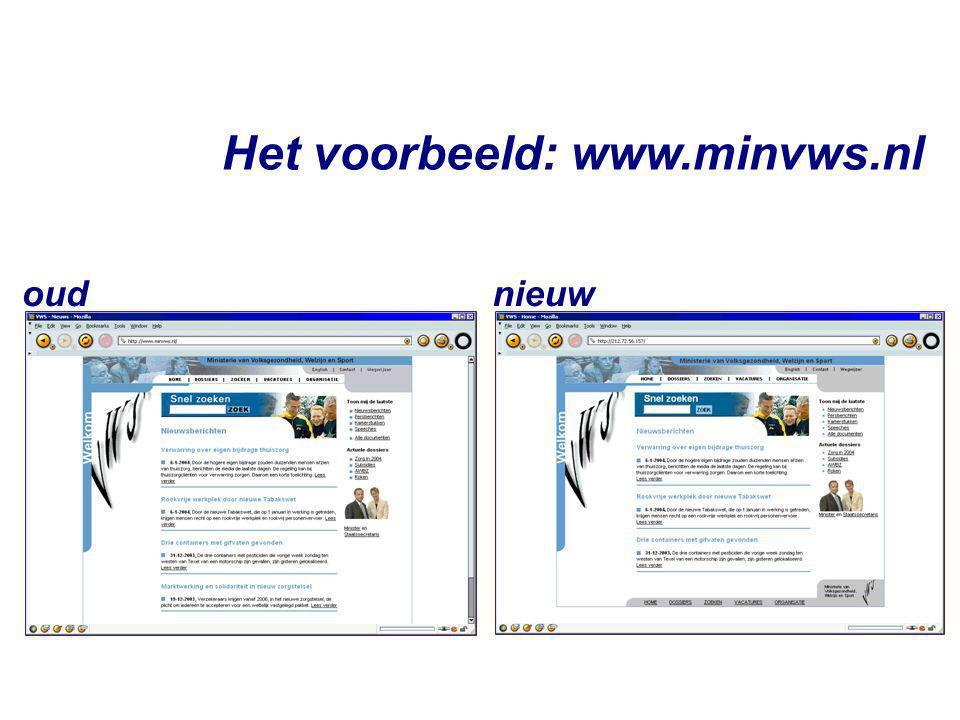 Het voorbeeld: www.minvws.nl oud nieuw