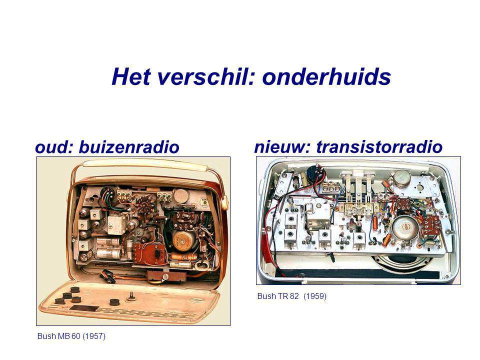 Het verschil: onderhuids Bush MB 60 (1957) oud: buizenradio Bush TR 82 (1959) nieuw: transistorradio