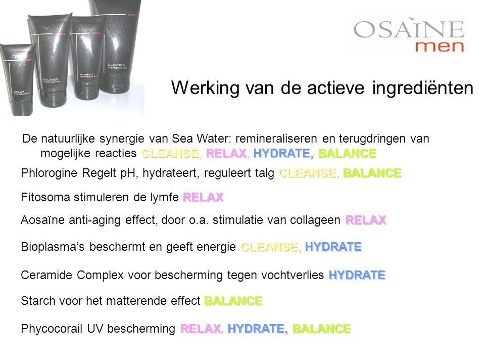 BALANCE Starch voor het matterende effect BALANCE RELAX Aosaïne anti-aging effect, door o.a. stimulatie van collageen RELAX HYDRATE Ceramide Complex v