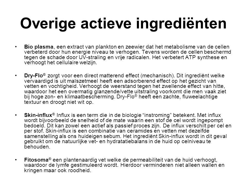 Overige actieve ingrediënten Bio plasma, een extract van plankton en zeewier dat het metabolisme van de cellen verbeterd door hun energie niveau te verhogen.