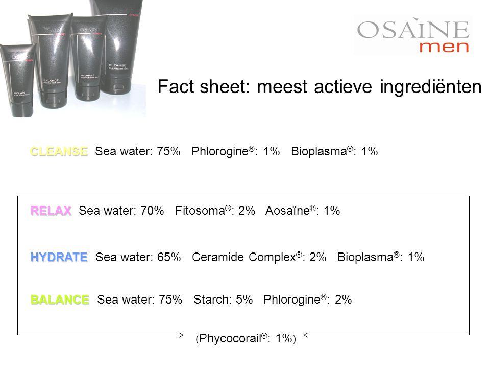 CLEANSE CLEANSE Sea water: 75% Phlorogine ® : 1% Bioplasma ® : 1% BALANCE BALANCE Sea water: 75% Starch: 5% Phlorogine ® : 2% RELAX RELAX Sea water: 7