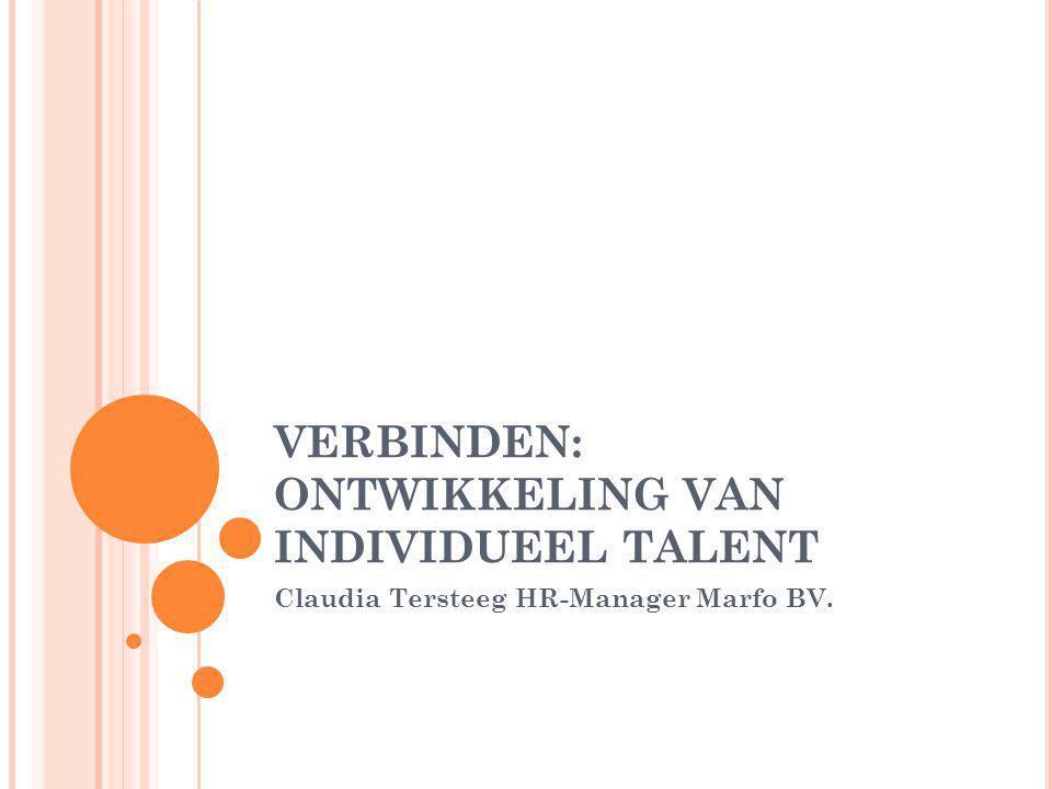 VERBINDEN: ONTWIKKELING VAN INDIVIDUEEL TALENT Claudia Tersteeg HR-Manager Marfo BV.