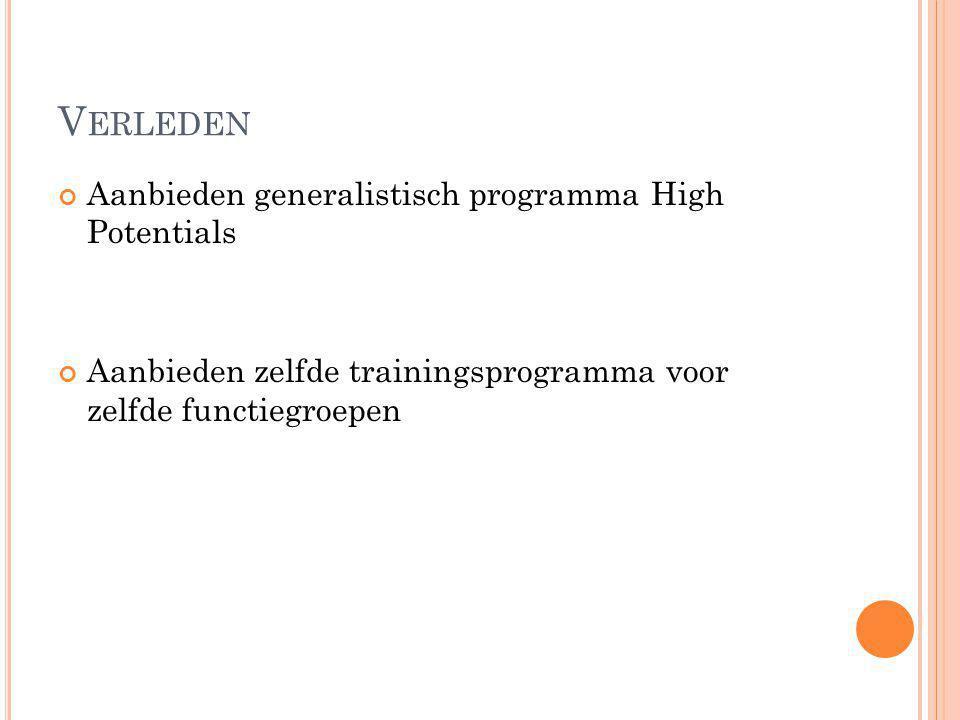 V ERLEDEN Aanbieden generalistisch programma High Potentials Aanbieden zelfde trainingsprogramma voor zelfde functiegroepen