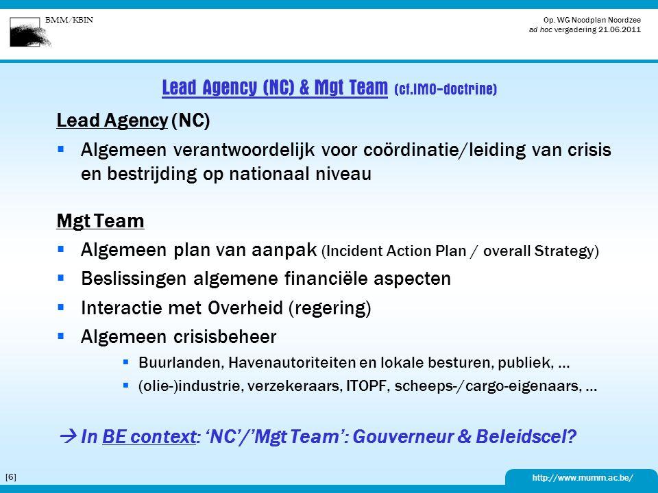 BMM/KBIN http://www.mumm.ac.be/ Op. WG Noodplan Noordzee ad hoc vergadering 21.06.2011 [6][6] Lead Agency (NC) & Mgt Team (cf.IMO-doctrine) Lead Agenc