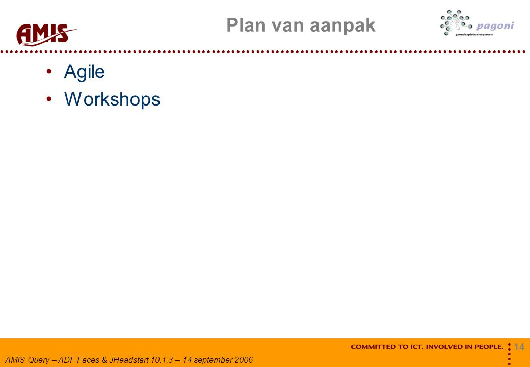 14 AMIS Query – ADF Faces & JHeadstart 10.1.3 – 14 september 2006 Plan van aanpak Agile Workshops