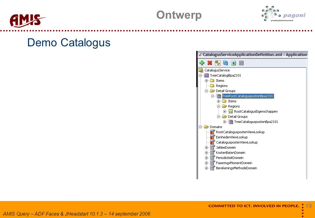 19 AMIS Query – ADF Faces & JHeadstart 10.1.3 – 14 september 2006 Demo Catalogus Ontwerp