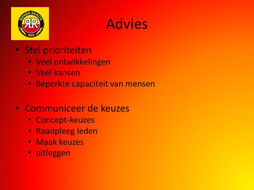 Advies Stel prioriteiten Veel ontwikkelingen Veel kansen Beperkte capaciteit van mensen Communiceer de keuzes Concept-keuzes Raadpleeg leden Maak keuz