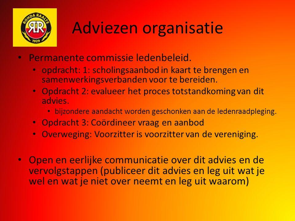 Adviezen organisatie Permanente commissie ledenbeleid. opdracht: 1: scholingsaanbod in kaart te brengen en samenwerkingsverbanden voor te bereiden. Op