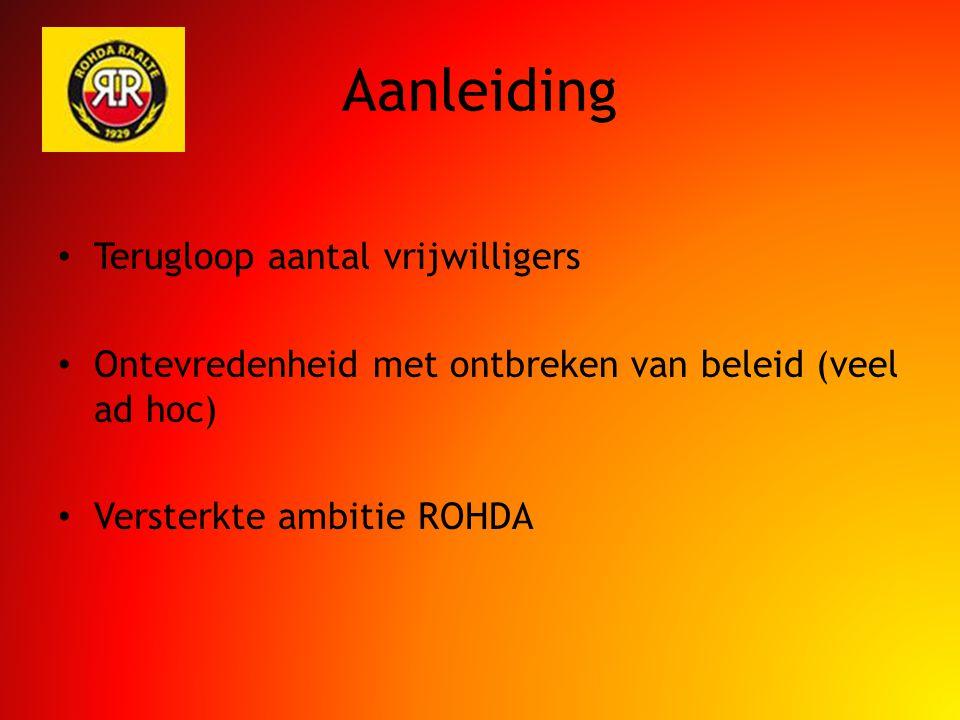 Aanleiding Terugloop aantal vrijwilligers Ontevredenheid met ontbreken van beleid (veel ad hoc) Versterkte ambitie ROHDA