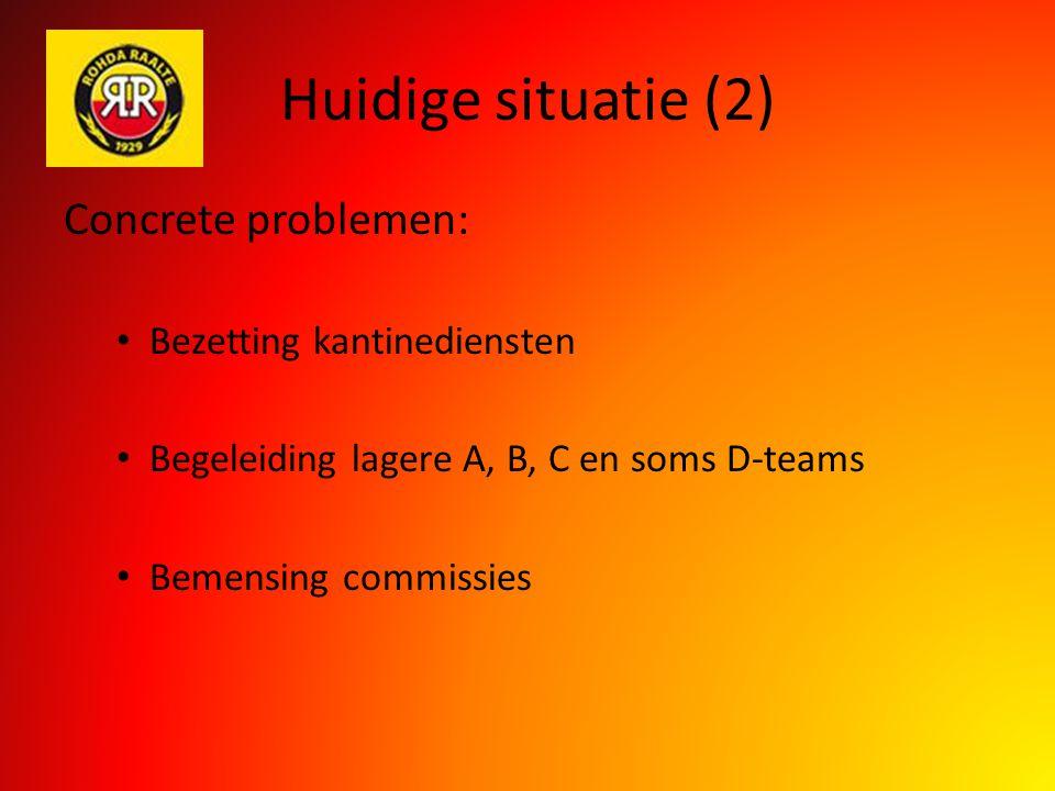 Huidige situatie (2) Concrete problemen: Bezetting kantinediensten Begeleiding lagere A, B, C en soms D-teams Bemensing commissies