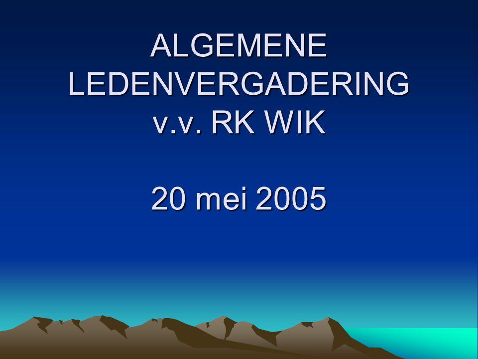 ALGEMENE LEDENVERGADERING v.v. RK WIK 20 mei 2005