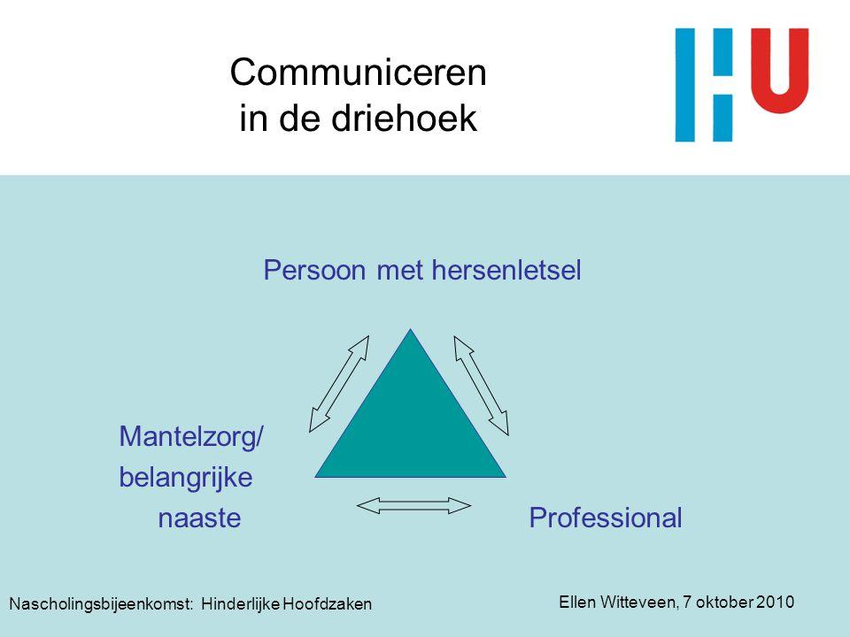 Ellen Witteveen, 7 oktober 2010 Nascholingsbijeenkomst: Hinderlijke Hoofdzaken Communiceren in de driehoek Persoon met hersenletsel Mantelzorg/ belang