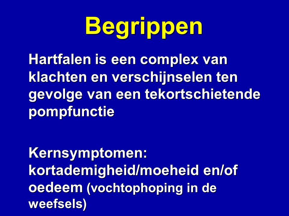 Begrippen Hartfalen is een complex van klachten en verschijnselen ten gevolge van een tekortschietende pompfunctie Kernsymptomen: kortademigheid/moehe