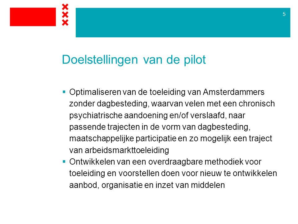 5 Doelstellingen van de pilot  Optimaliseren van de toeleiding van Amsterdammers zonder dagbesteding, waarvan velen met een chronisch psychiatrische aandoening en/of verslaafd, naar passende trajecten in de vorm van dagbesteding, maatschappelijke participatie en zo mogelijk een traject van arbeidsmarkttoeleiding  Ontwikkelen van een overdraagbare methodiek voor toeleiding en voorstellen doen voor nieuw te ontwikkelen aanbod, organisatie en inzet van middelen