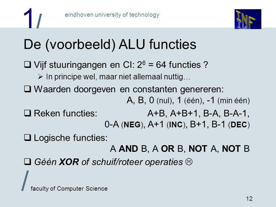 1/1/ eindhoven university of technology / faculty of Computer Science 12 De (voorbeeld) ALU functies  Vijf stuuringangen en CI: 2 6 = 64 functies ? 