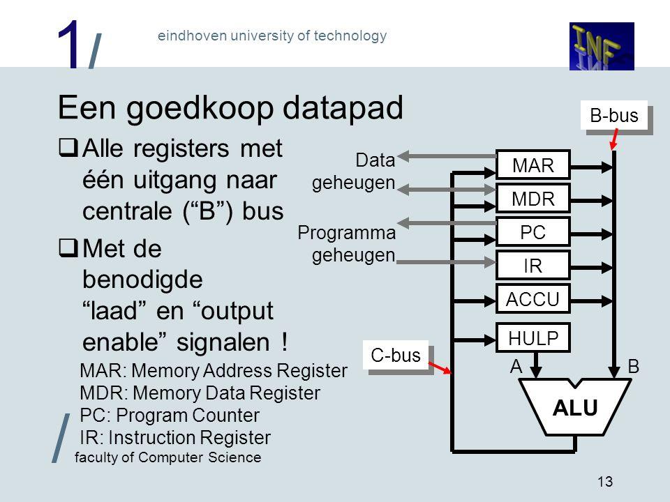 """1/1/ eindhoven university of technology / faculty of Computer Science 13 Een goedkoop datapad  Alle registers met één uitgang naar centrale (""""B"""") bus"""