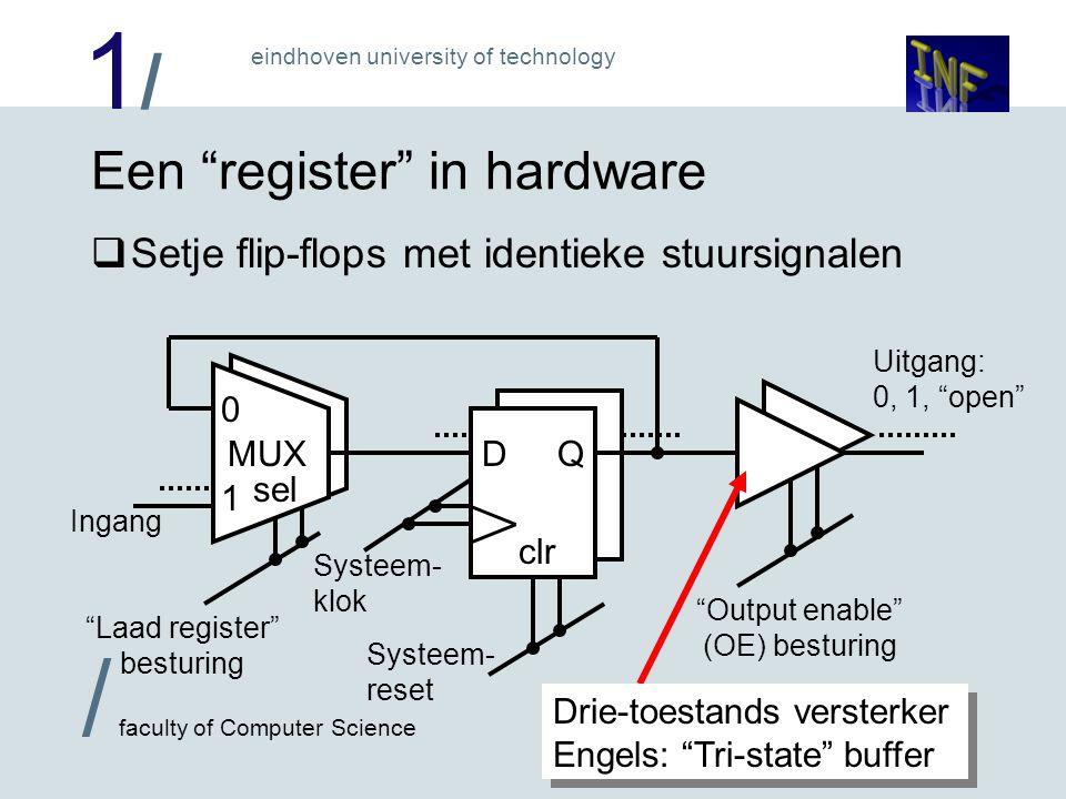 """1/1/ eindhoven university of technology / faculty of Computer Science 4 Een """"register"""" in hardware  Setje flip-flops met identieke stuursignalen Syst"""