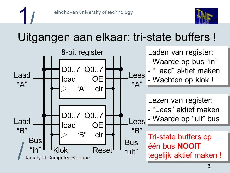 "1/1/ eindhoven university of technology / faculty of Computer Science 5 Uitgangen aan elkaar: tri-state buffers ! D0..7Q0..7 OE clr load ""B"" Laad ""B"""