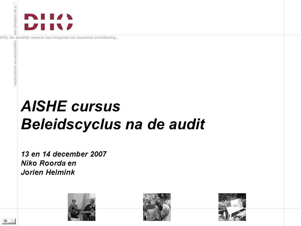 AISHE cursus Beleidscyclus na de audit 13 en 14 december 2007 Niko Roorda en Jorien Helmink