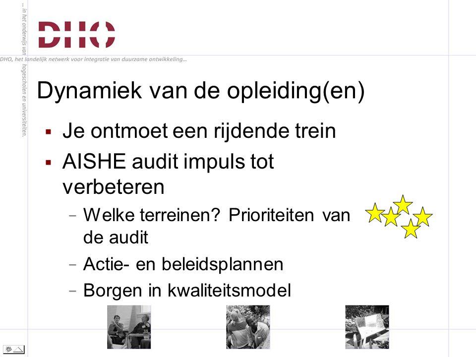 Dynamiek van de opleiding(en)  Je ontmoet een rijdende trein  AISHE audit impuls tot verbeteren − Welke terreinen.
