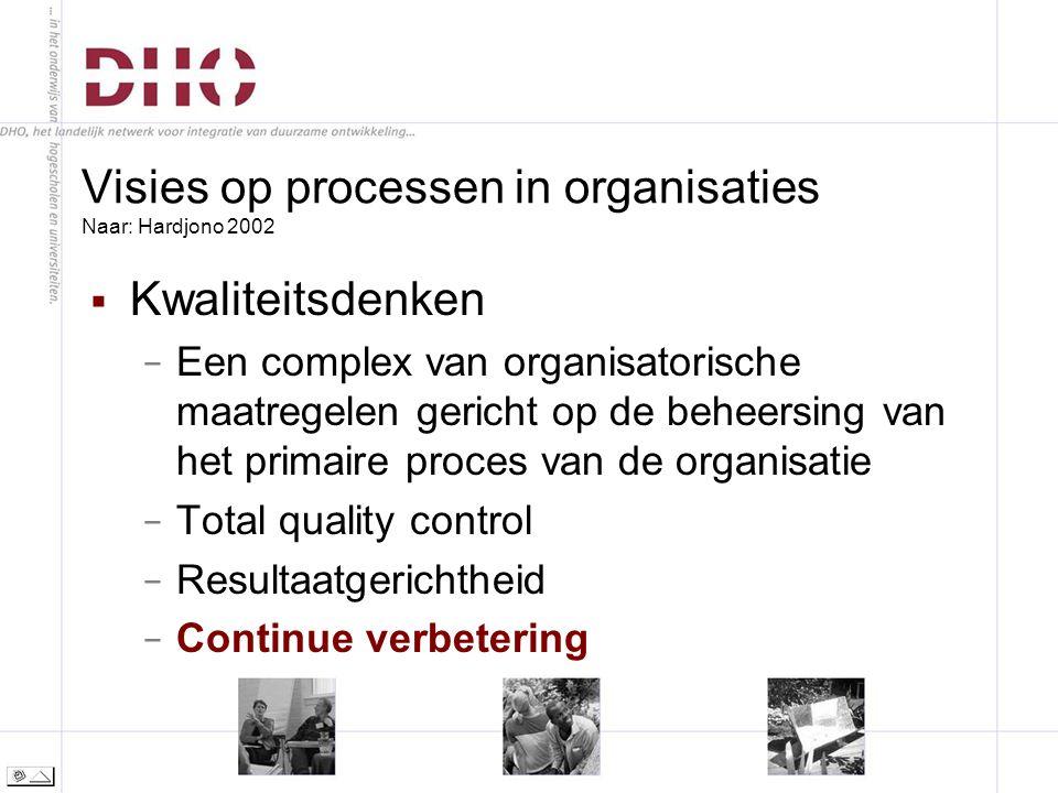 Visies op processen in organisaties Naar: Hardjono 2002  Kwaliteitsdenken − Een complex van organisatorische maatregelen gericht op de beheersing van het primaire proces van de organisatie − Total quality control − Resultaatgerichtheid − Continue verbetering