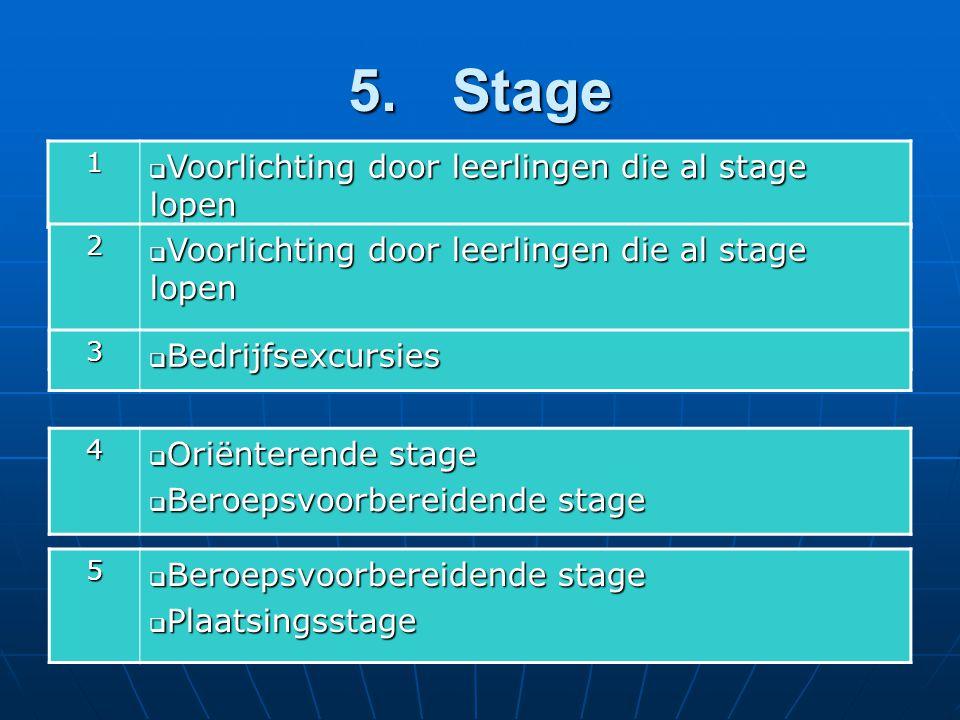 5. Stage 1  Voorlichting door leerlingen die al stage lopen 2 3  Bedrijfsexcursies 4  Oriënterende stage  Beroepsvoorbereidende stage 5  Plaatsin