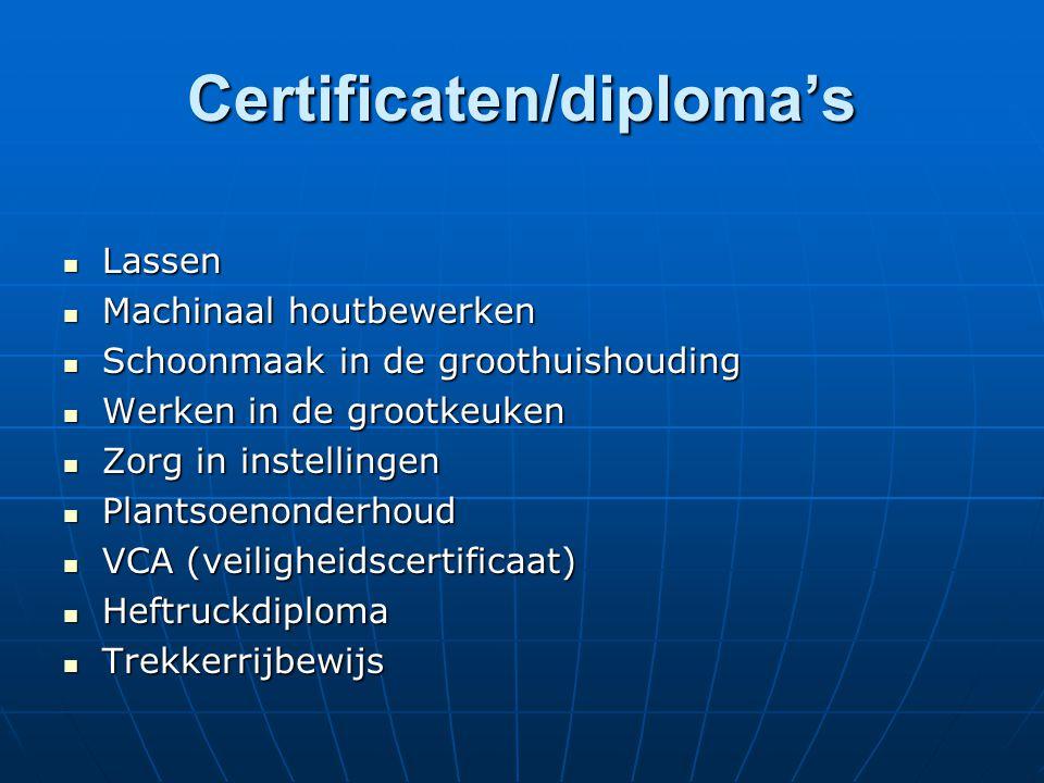 Certificaten/diploma's Lassen Lassen Machinaal houtbewerken Machinaal houtbewerken Schoonmaak in de groothuishouding Schoonmaak in de groothuishouding Werken in de grootkeuken Werken in de grootkeuken Zorg in instellingen Zorg in instellingen Plantsoenonderhoud Plantsoenonderhoud VCA (veiligheidscertificaat) VCA (veiligheidscertificaat) Heftruckdiploma Heftruckdiploma Trekkerrijbewijs Trekkerrijbewijs
