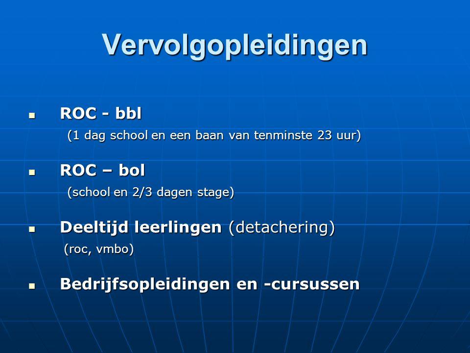 Vervolgopleidingen ROC - bbl ROC - bbl (1 dag school en een baan van tenminste 23 uur) (1 dag school en een baan van tenminste 23 uur) ROC – bol ROC – bol (school en 2/3 dagen stage) (school en 2/3 dagen stage) Deeltijd leerlingen (detachering) Deeltijd leerlingen (detachering) (roc, vmbo) (roc, vmbo) Bedrijfsopleidingen en -cursussen Bedrijfsopleidingen en -cursussen