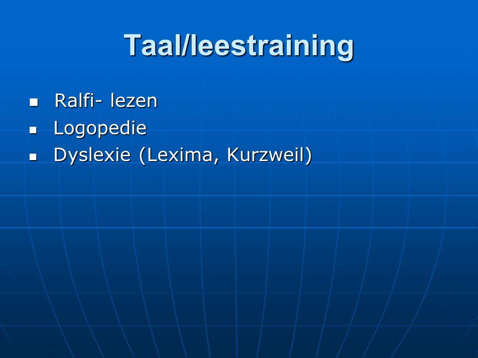 Taal/leestraining Ralfi- lezen Ralfi- lezen Logopedie Logopedie Dyslexie (Lexima, Kurzweil) Dyslexie (Lexima, Kurzweil)