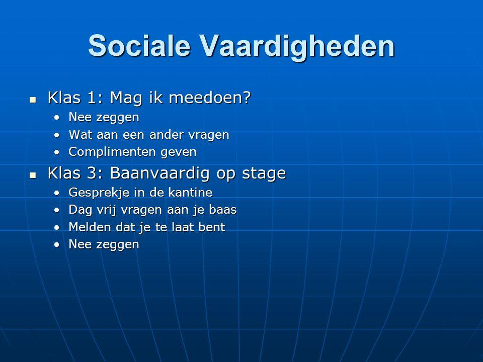 Sociale Vaardigheden Klas 1: Mag ik meedoen? Klas 1: Mag ik meedoen? Nee zeggenNee zeggen Wat aan een ander vragenWat aan een ander vragen Complimente