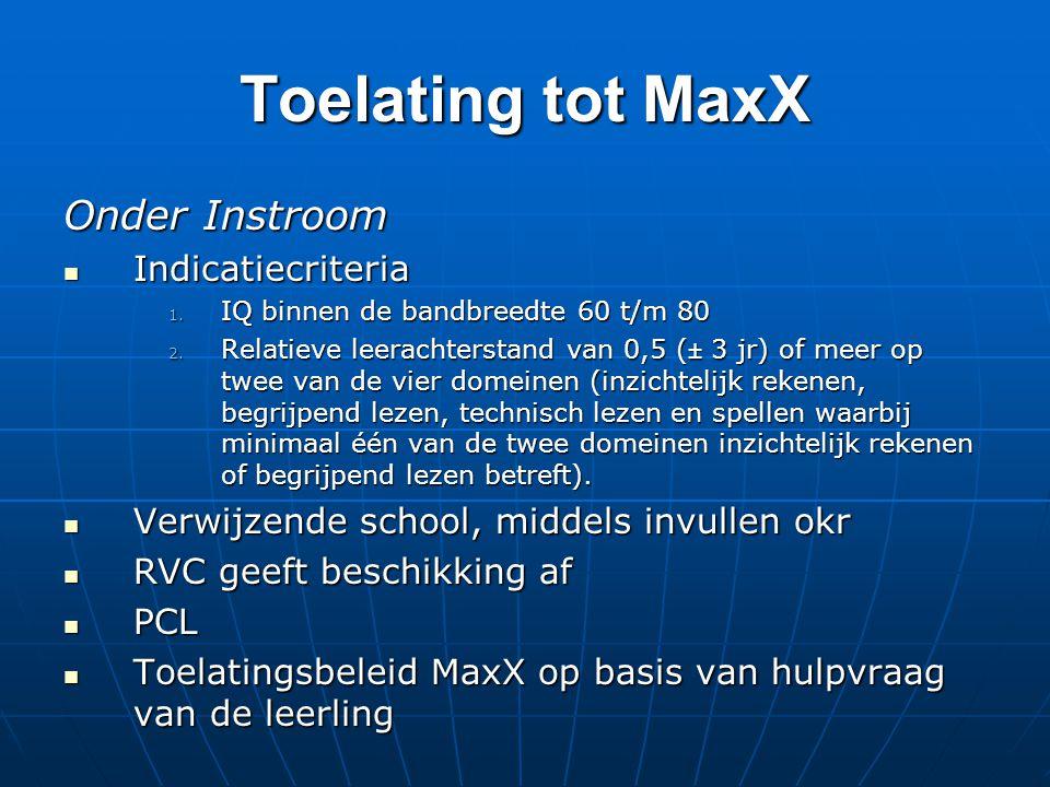 Toelating tot MaxX Onder Instroom Indicatiecriteria Indicatiecriteria 1. IQ binnen de bandbreedte 60 t/m 80 2. Relatieve leerachterstand van 0,5 (± 3