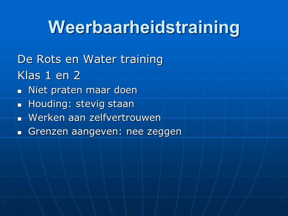 Weerbaarheidstraining De Rots en Water training Klas 1 en 2 Niet praten maar doen Niet praten maar doen Houding: stevig staan Houding: stevig staan We