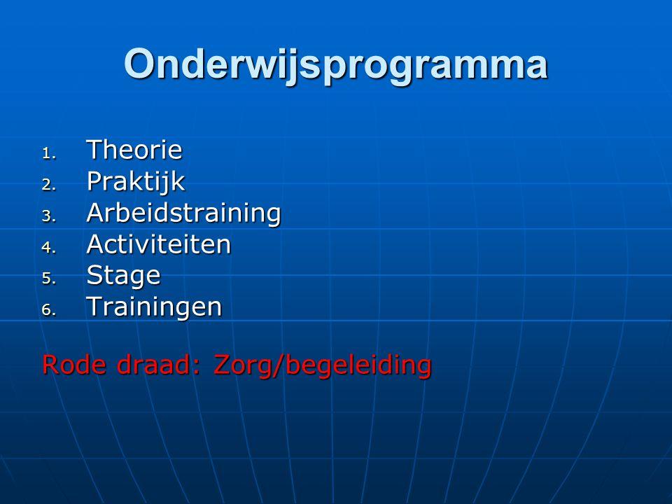 Onderwijsprogramma 1. Theorie 2. Praktijk 3. Arbeidstraining 4. Activiteiten 5. Stage 6. Trainingen Rode draad: Zorg/begeleiding