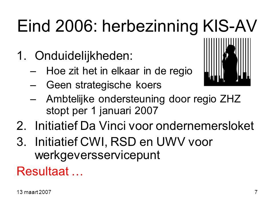 13 maart 20078 Bureau Onderwijs Arbeidsmarkt Alblasserwaard-Vijfheerenlanden 1 januari 2007