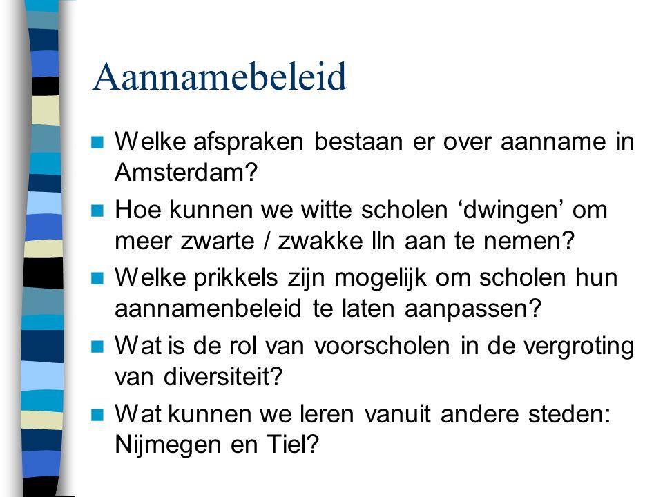 Aannamebeleid Welke afspraken bestaan er over aanname in Amsterdam? Hoe kunnen we witte scholen 'dwingen' om meer zwarte / zwakke lln aan te nemen? We